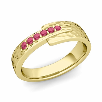 Embrace Love Ruby Wedding Anniversary Ring in 18k Gold Hammered Ring, 6mm