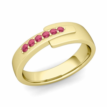 Embrace Love Ruby Wedding Anniversary Ring in 18k Gold Satin Ring, 6mm