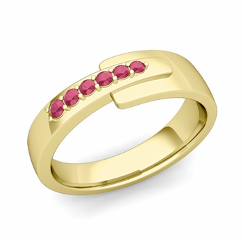 Embrace Love Ruby Wedding Anniversary Ring in 18k Gold Shiny Ring, 6mm