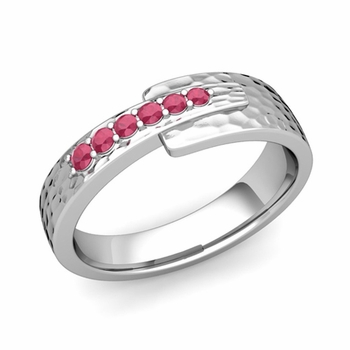 Embrace Love Ruby Wedding Anniversary Ring in Platinum Hammered Ring, 6mm