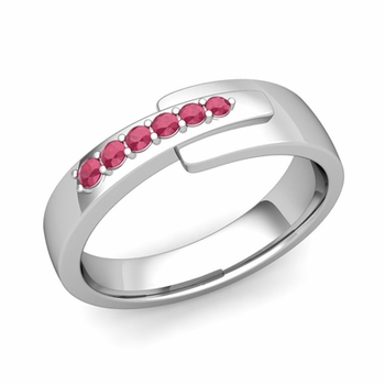 Embrace Love Ruby Wedding Anniversary Ring in Platinum Shiny Ring, 6mm