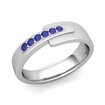 Embrace Love Sapphire Wedding Anniversary Ring in 14k Gold Brushed Ring, 6mm