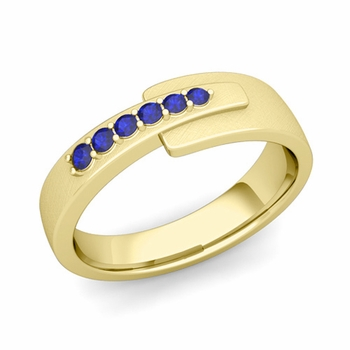 Embrace Love Sapphire Wedding Anniversary Ring in 18k Gold Brushed Ring, 6mm