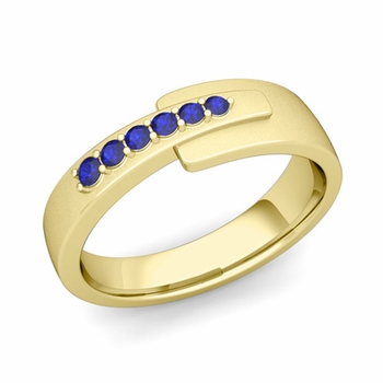 Embrace Love Sapphire Wedding Anniversary Ring in 18k Gold Satin Ring, 6mm