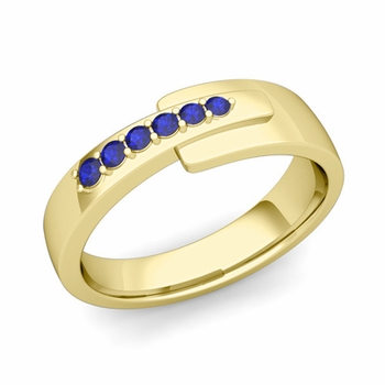 Embrace Love Sapphire Wedding Anniversary Ring in 18k Gold Shiny Ring, 6mm