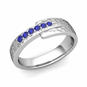 Embrace Love Sapphire Wedding Anniversary Ring in Platinum Hammered Ring, 6mm