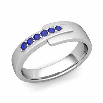 Embrace Love Sapphire Wedding Anniversary Ring in Platinum Satin Ring, 6mm