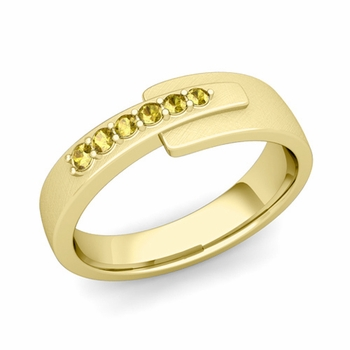 Embrace Love Yellow Sapphire Wedding Ring in 18k Gold Brushed Ring, 6mm