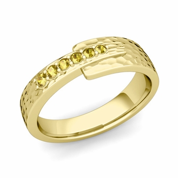 Embrace Love Yellow Sapphire Wedding Ring in 18k Gold Hammered Ring, 6mm