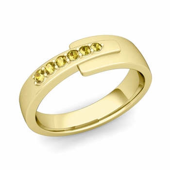 Embrace Love Yellow Sapphire Wedding Ring in 18k Gold Satin Ring, 6mm