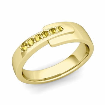 Embrace Love Yellow Sapphire Wedding Ring in 18k Gold Shiny Ring, 6mm
