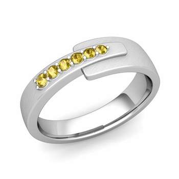 Embrace Love Yellow Sapphire Wedding Ring in Platinum Brushed Ring, 6mm