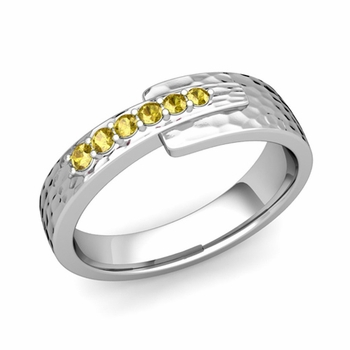 Embrace Love Yellow Sapphire Wedding Ring in Platinum Hammered Ring, 6mm