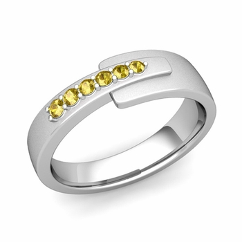 Embrace Love Yellow Sapphire Wedding Ring in Platinum Satin Ring, 6mm