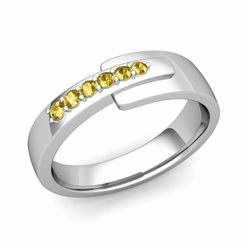 Embrace Love Yellow Sapphire Wedding Ring in Platinum Shiny Ring, 6mm