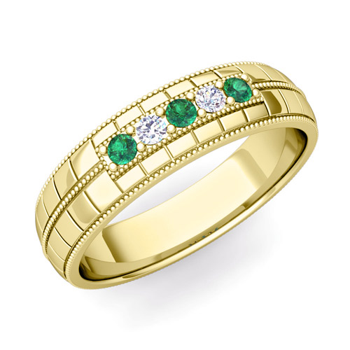 Emerald And Diamond Mens Wedding Band In 14k Gold 5 Stone Ring