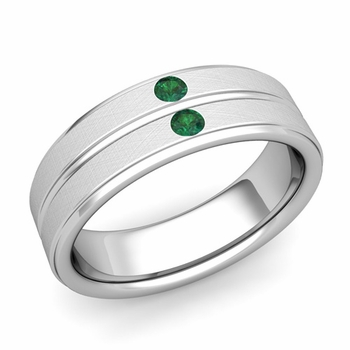 Emerald Wedding Anniversary Ring in 14k Gold Brushed Flat Wedding Band, 6.5mm