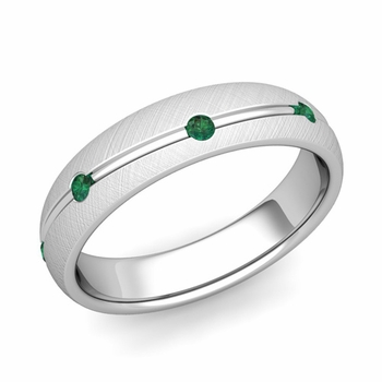 Emerald Wedding Anniversary Ring in 14k Gold Brushed Wave Wedding Band, 5mm