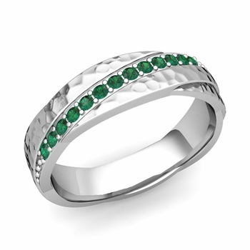 Emerald Wedding Anniversary Ring in 14k Gold Hammered Rolling Wedding Band, 6mm