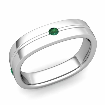 Emerald Wedding Anniversary Ring in 14k Gold Shiny Square Wedding Band, 5mm