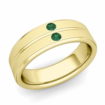 Emerald Wedding Anniversary Ring in 18k Gold Brushed Flat Wedding Band, 6.5mm
