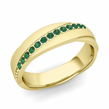 Emerald Wedding Anniversary Ring in 18k Gold Brushed Rolling Wedding Band, 6mm
