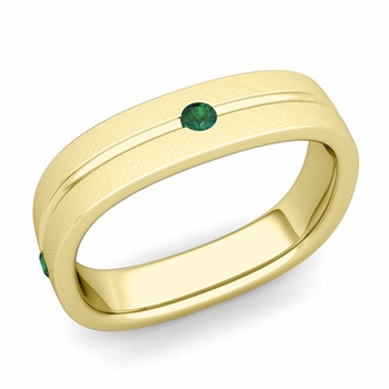 Emerald Wedding Anniversary Ring in 18k Gold Brushed Square Wedding Band, 5mm