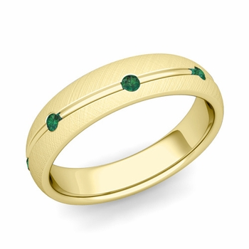 Emerald Wedding Anniversary Ring in 18k Gold Brushed Wave Wedding Band, 5mm