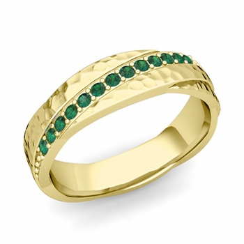 Emerald Wedding Anniversary Ring in 18k Gold Hammered Rolling Wedding Band, 6mm