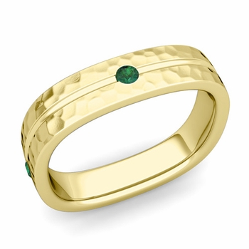 Emerald Wedding Anniversary Ring in 18k Gold Hammered Square Wedding Band, 5mm