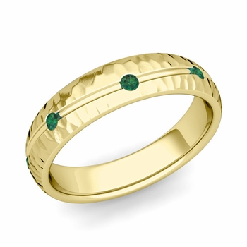 Emerald Wedding Anniversary Ring in 18k Gold Hammered Wave Wedding Band, 5mm