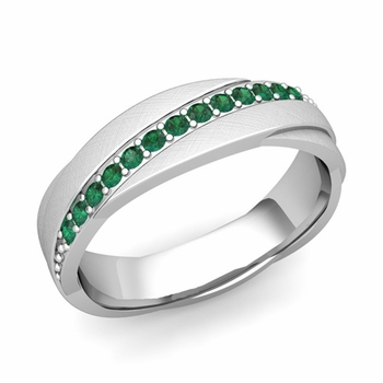 Emerald Wedding Anniversary Ring in Platinum Brushed Rolling Wedding Band, 6mm