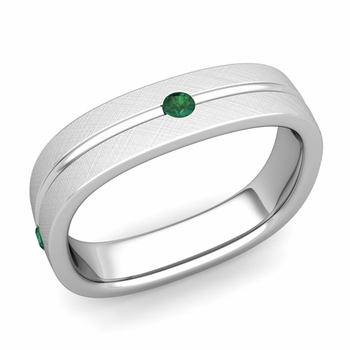 Emerald Wedding Anniversary Ring in Platinum Brushed Square Wedding Band, 5mm
