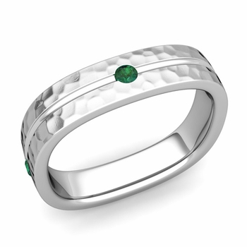 Emerald Wedding Anniversary Ring in Platinum Hammered Square Wedding Band, 5mm