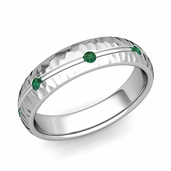 Emerald Wedding Anniversary Ring in Platinum Hammered Wave Wedding Band, 5mm