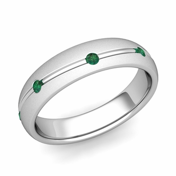Emerald Wedding Anniversary Ring in Platinum Satin Wave Wedding Band, 5mm