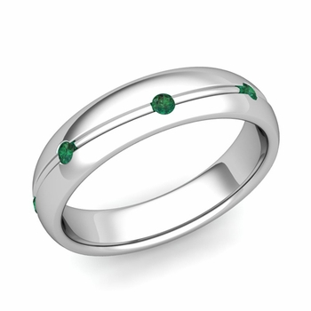 Emerald Wedding Anniversary Ring in Platinum Shiny Wave Wedding Band, 5mm