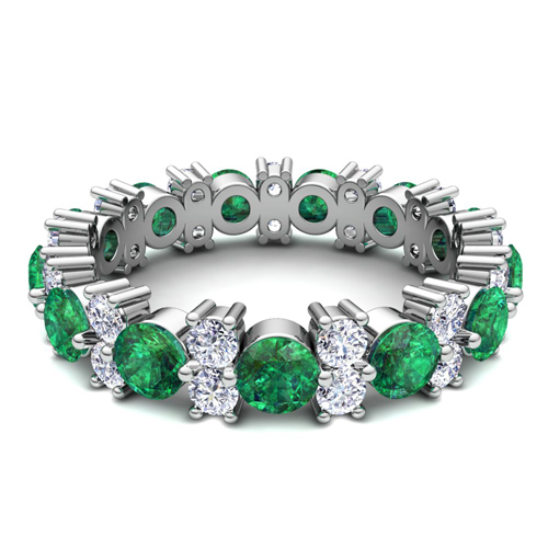 eternity bands diamond band emerald platinum product cut and