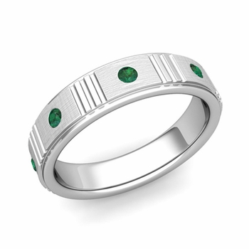 Geometric Emerald Wedding Anniversary Ring in 14k Gold Brushed Ring, 5mm