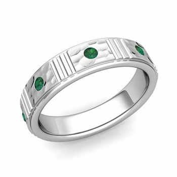 Geometric Emerald Wedding Anniversary Ring in 14k Gold Hammered Ring, 5mm