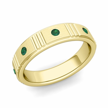 Geometric Emerald Wedding Anniversary Ring in 18k Gold Brushed Ring, 5mm
