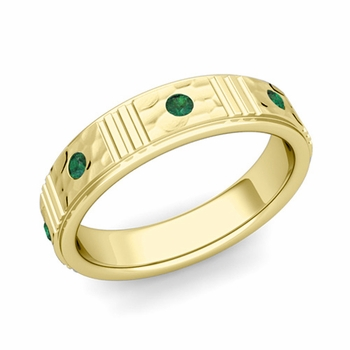 Geometric Emerald Wedding Anniversary Ring in 18k Gold Hammered Ring, 5mm