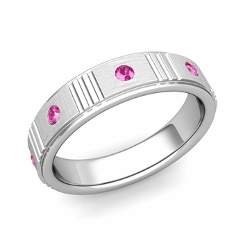 Geometric Pink Sapphire Wedding Ring in 14k Gold Brushed Ring, 5mm