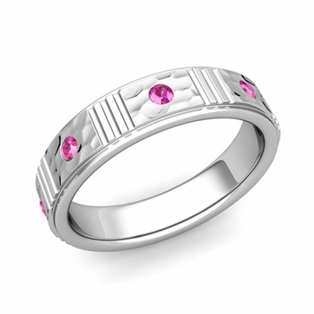 Geometric Pink Sapphire Wedding Ring in 14k Gold Hammered Ring, 5mm