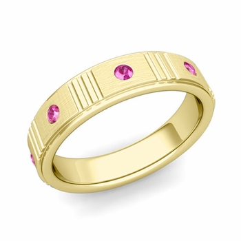 Geometric Pink Sapphire Wedding Ring in 18k Gold Brushed Ring, 5mm
