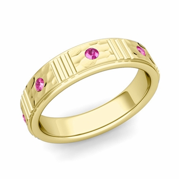 Geometric Pink Sapphire Wedding Ring in 18k Gold Hammered Ring, 5mm