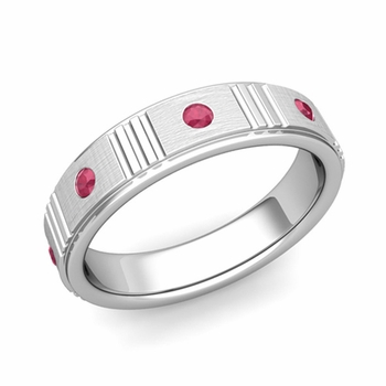 Geometric Ruby Wedding Anniversary Ring in 14k Gold Brushed Ring, 5mm