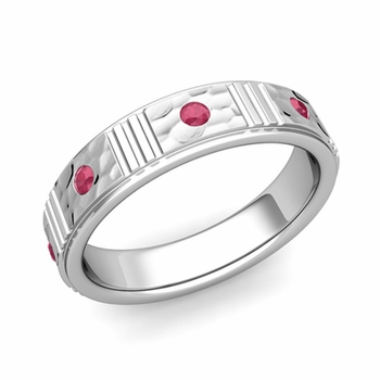 Geometric Ruby Wedding Anniversary Ring in 14k Gold Hammered Ring, 5mm
