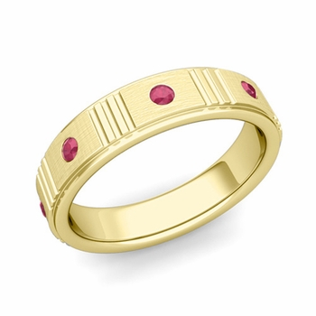 Geometric Ruby Wedding Anniversary Ring in 18k Gold Brushed Ring, 5mm