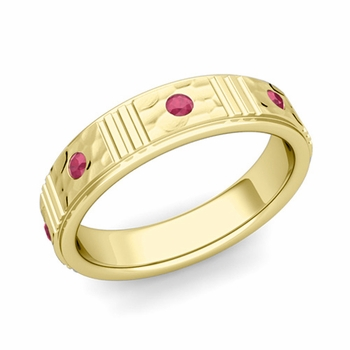 Geometric Ruby Wedding Anniversary Ring in 18k Gold Hammered Ring, 5mm